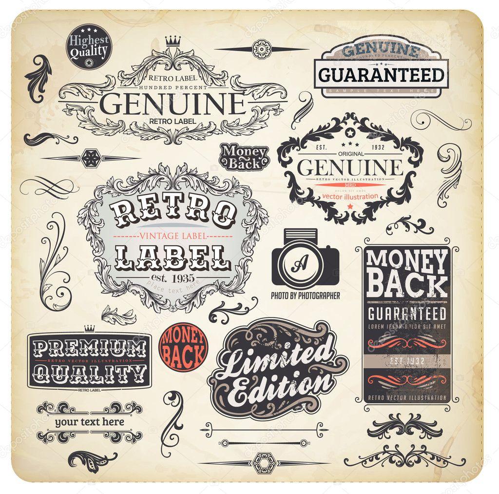 Ipastock vector set elementi di design calligrafica e for Elementi di design