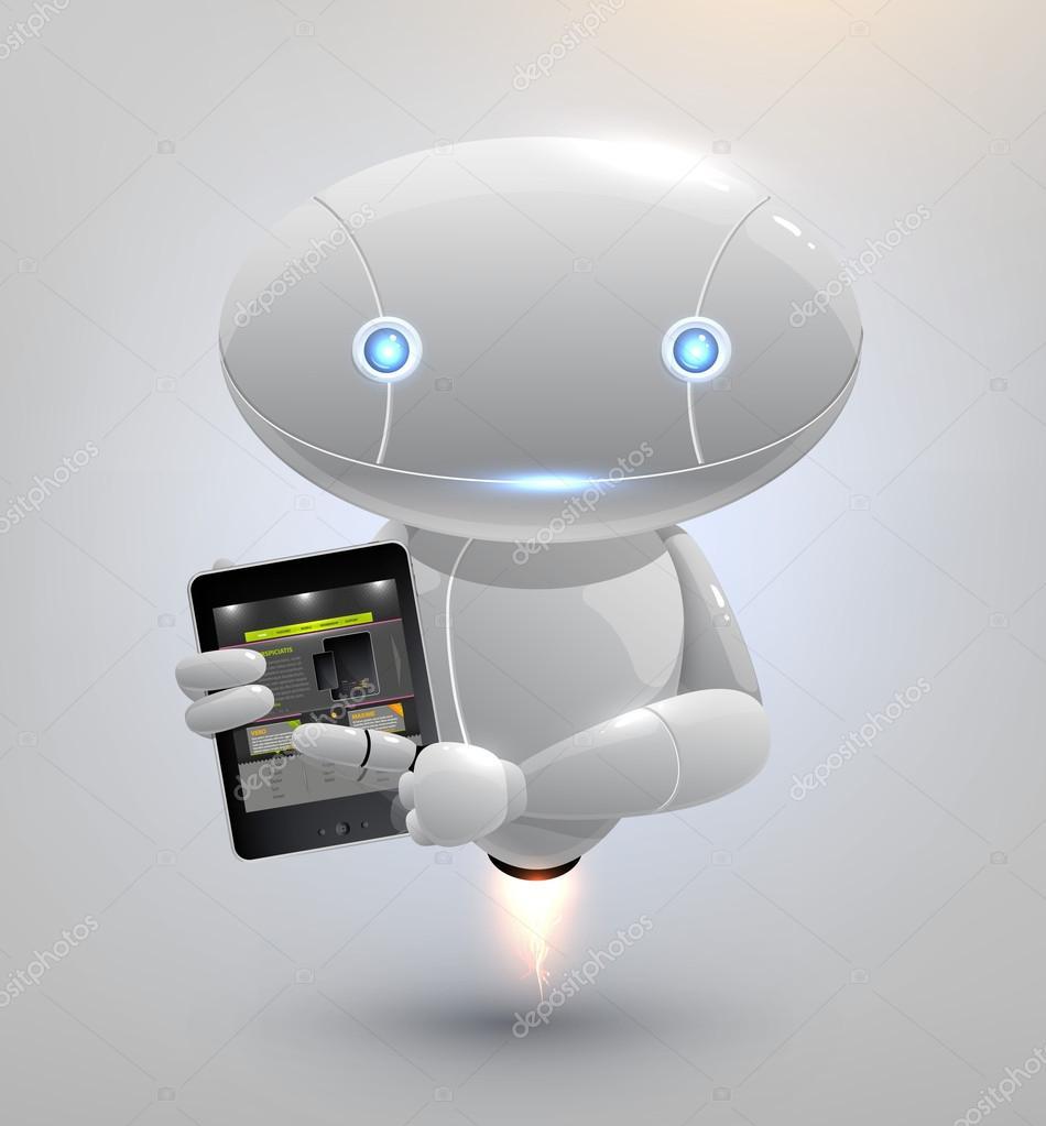 Ipastock robot vettoriale con tablet pc
