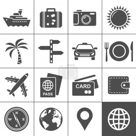 Set di icone di viaggio e turismo. ...