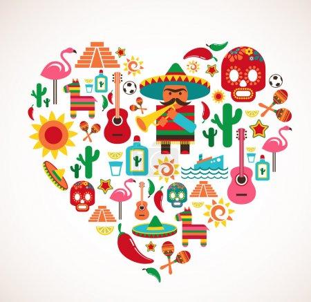 Messico amore - cuore con set di ic...