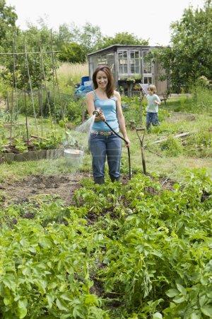 Ipastock donna di annaffiare le piante in giardino for Annaffiare le piante