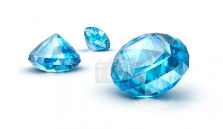 pietre preziose blu isolati su bian...