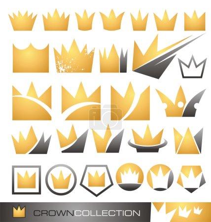 corona simbolo e icona set