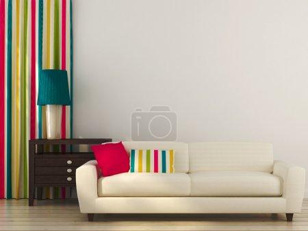 divano bianco con decori