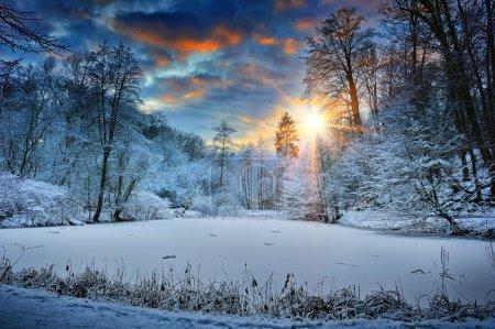 tramonto sul lago foresta invernale