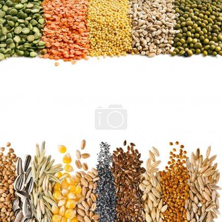 Cereali, Semi, Fagioli, bordo su fo...