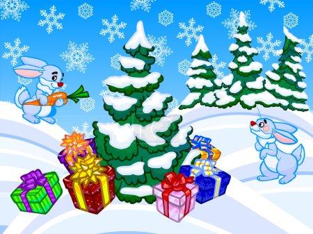 Ipastock l 39 illustrazione di cartone animato di inverno - Cartone animato natale agrifoglio di natale ...