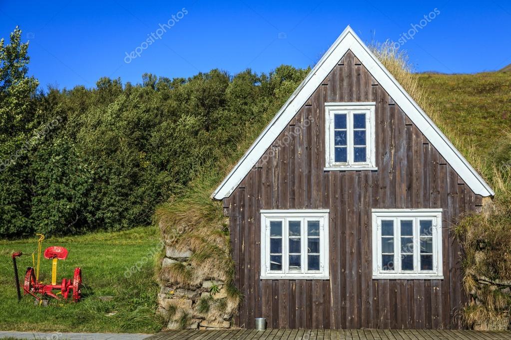 ipastock casa tradizionale tappeto erboso islandese