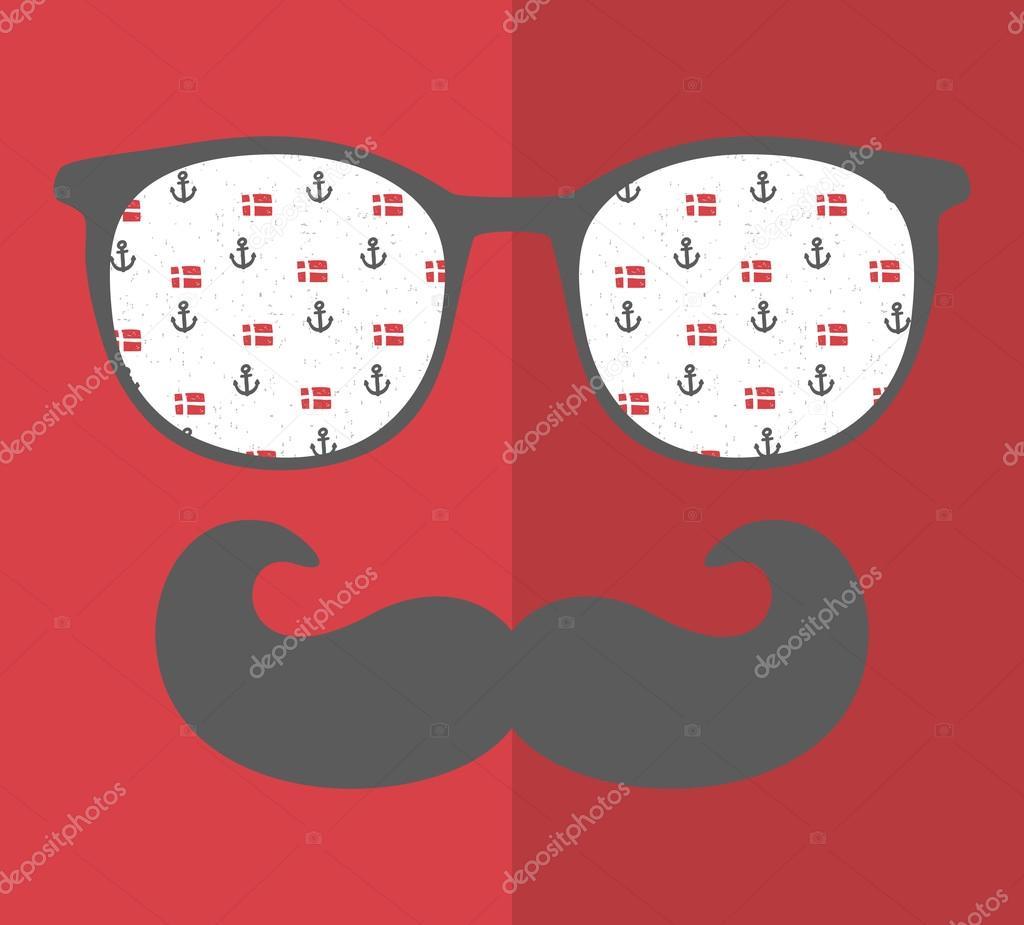 Ipastock uomo in occhiali da sole e con baffi