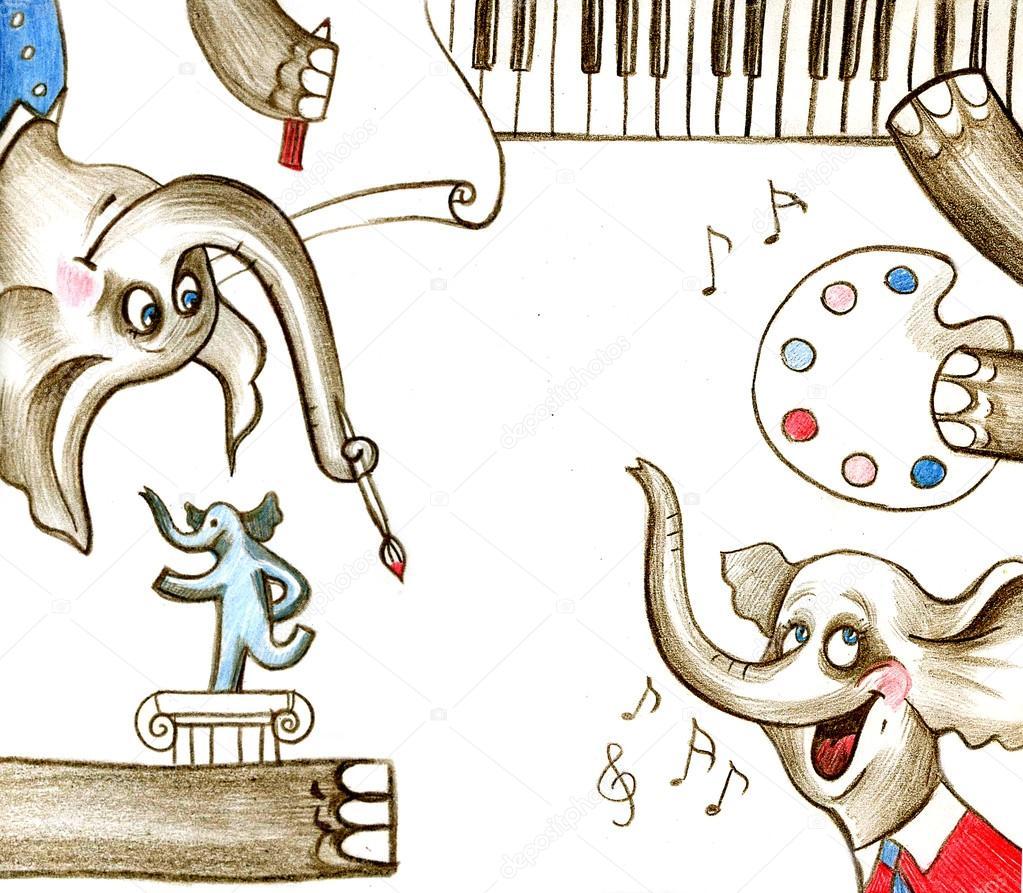 Ipastock elefanti bambino verniciato creativo