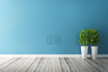 trama fiore bianco e blu del muro i...