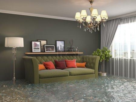 Ipastock interno della casa inondata di acqua for Interno della casa