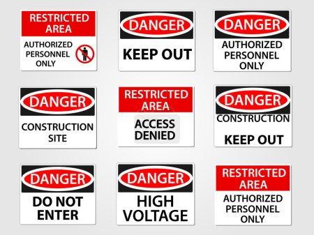 Set di segnali di pericolo e area r...
