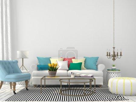 soggiorno con cuscini colorati