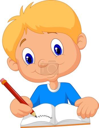 Felice ragazzo cartone animato scri...