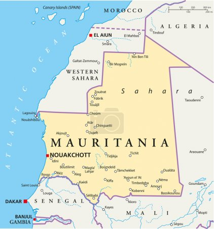 mappa politica di mauritania