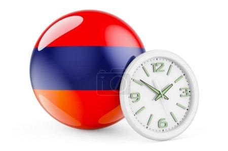 Bandiera armena con orologio. Tempo...