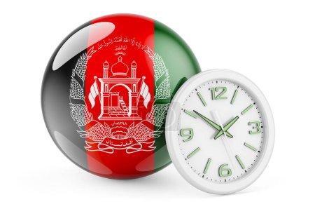 Bandiera afgana con orologio. Tempo...