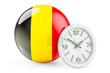 Bandiera belga con orologio. Tempo ...
