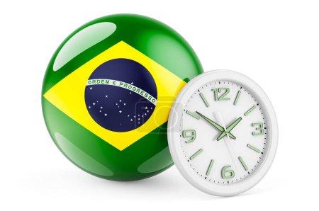 Bandiera brasiliana con orologio. T...