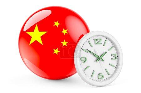 Bandiera cinese con orologio. Tempo...