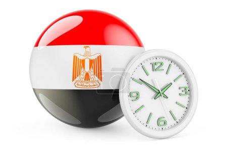 Bandiera egiziana con orologio. Tem...