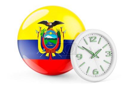Bandiera ecuadoriana con orologio. ...
