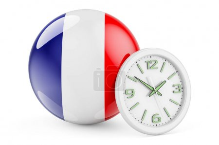 Bandiera francese con orologio. Tem...