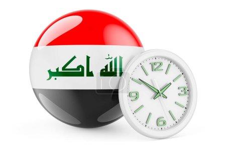 Bandiera irachena con orologio. Tem...