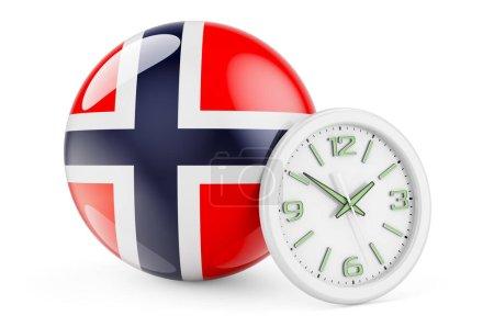 Bandiera norvegese con orologio. Te...