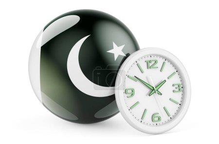 Bandiera pakistana con orologio. Te...