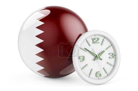 Bandiera del Qatar con orologio. Te...