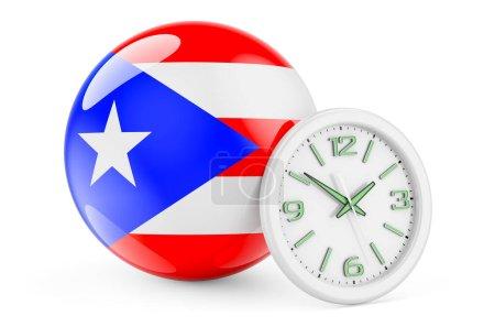 Bandiera portoricana con orologio. ...