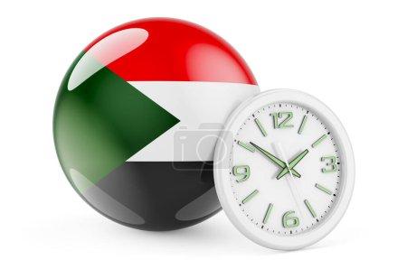 Bandiera sudanese con orologio. Tem...