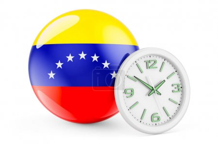 Bandiera venezuelana con orologio. ...