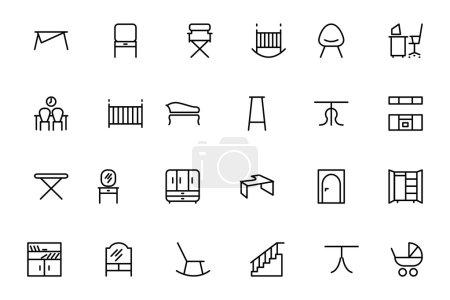 Icone della linea vettoriale mobili...