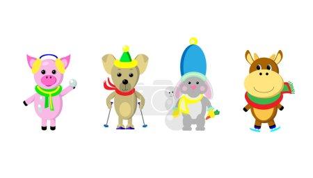 Ipastock animali di stile del fumetto con clipart - Animali in inverno clipart ...