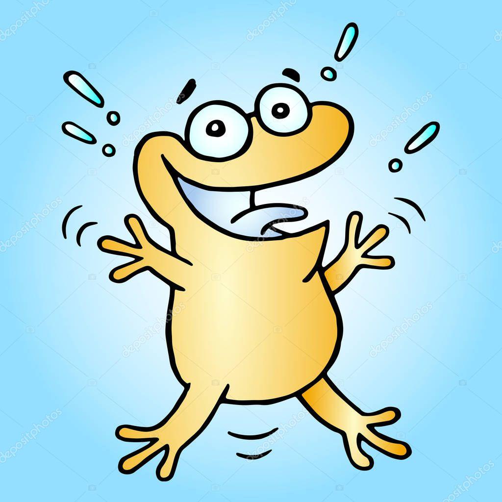 Ipastock rana felice saluto arancione illustrazione di