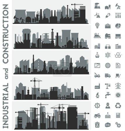 skyline della città industriale co...
