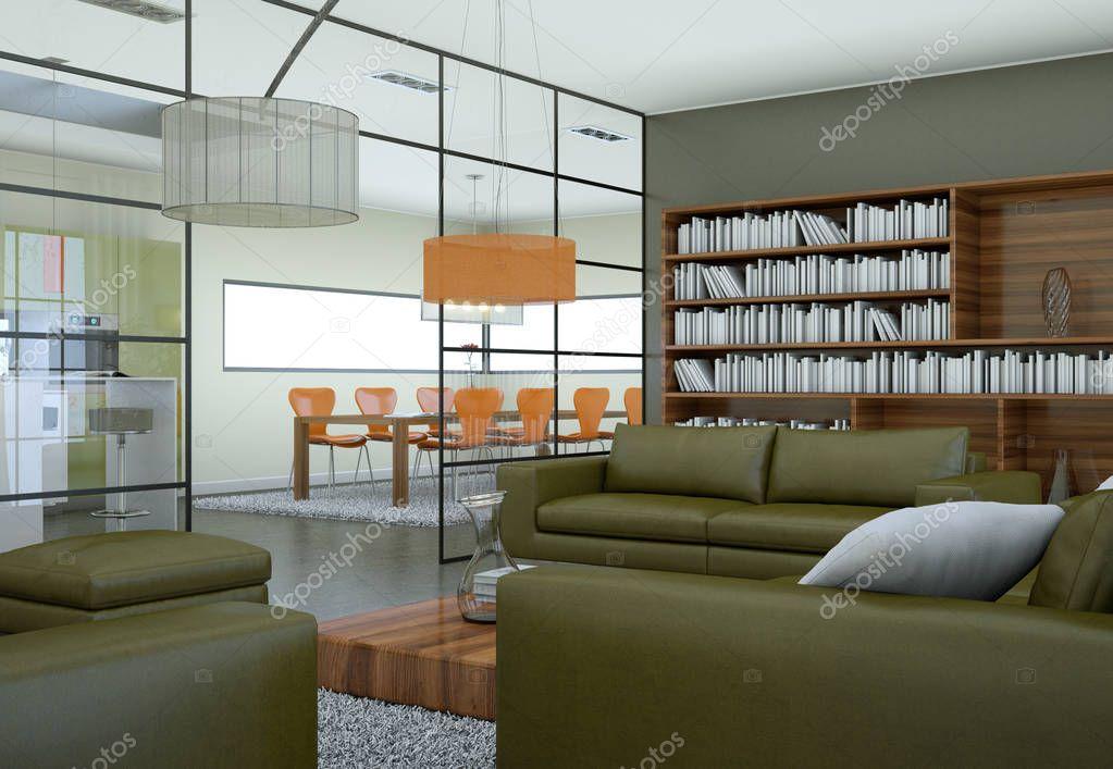 Ipastock salone minimalista moderno interni in stile for Interni salone