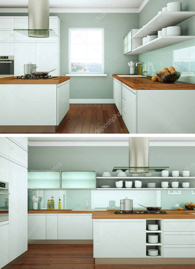ipastock due viste della moderna cucina interior design