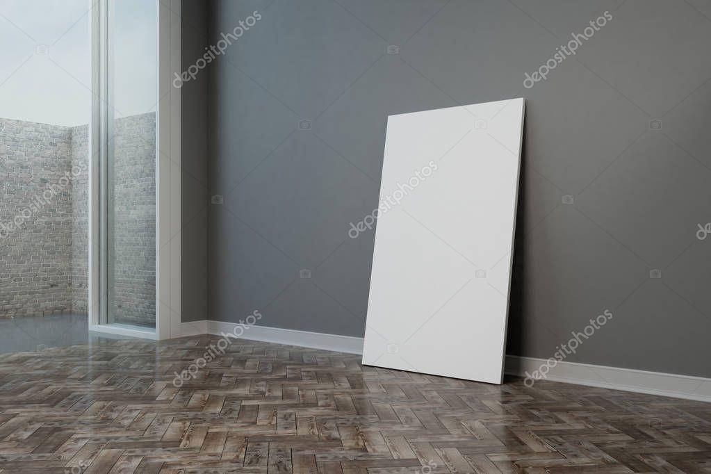 Ipastock poster di mockup bianco sul pavimento di legno nella stanza vuota moderna con pareti - Aprire finestra muro esterno ...