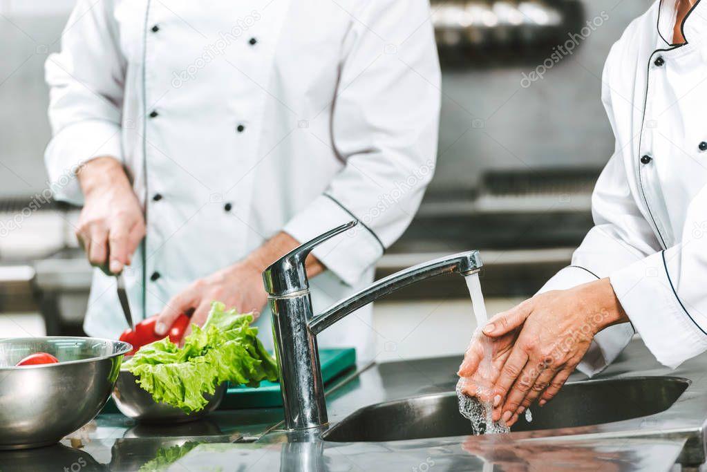 Ipastock vista potata del cuoco unico femminile lavarsi - Lavandino cucina ristorante ...