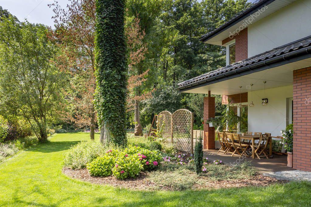 Ipastock erba verde e alberi accanto a mobili da for Mobili terrazza