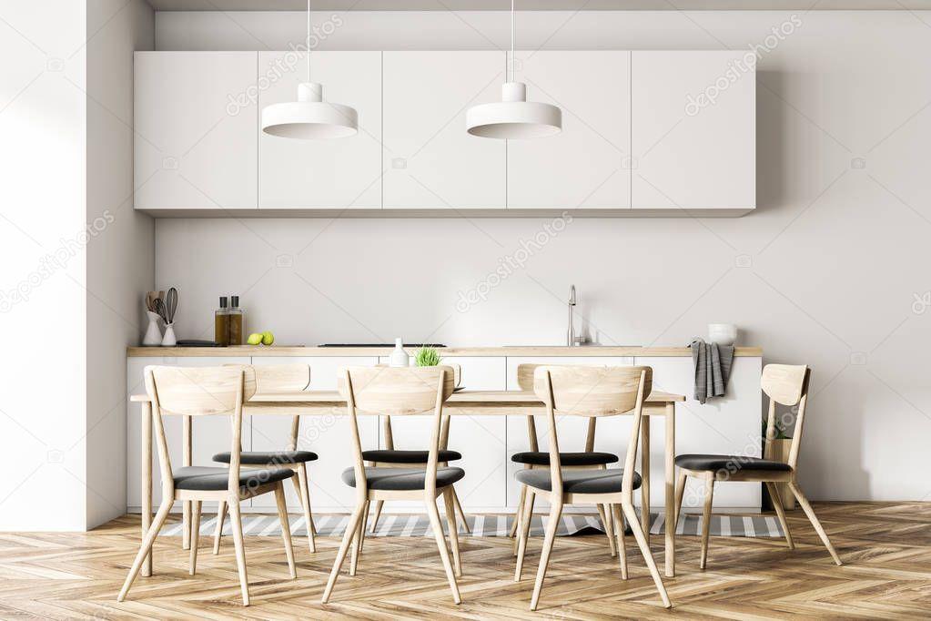 Ipastock sala da pranzo e cucina interni con pareti bianche pavimenti in legno un lungo - Pareti sala da pranzo ...