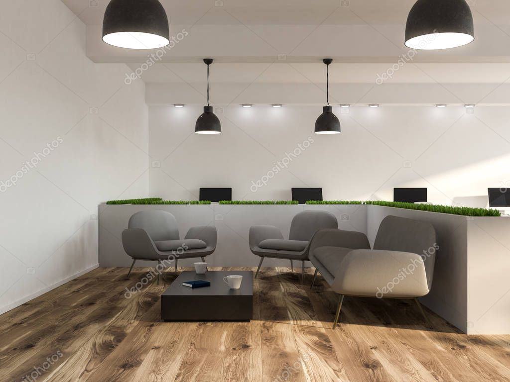 Ipastock interno sala d 39 attesa ufficio moderno con pareti bianche un pavimento in legno e - Pavimento interno moderno ...