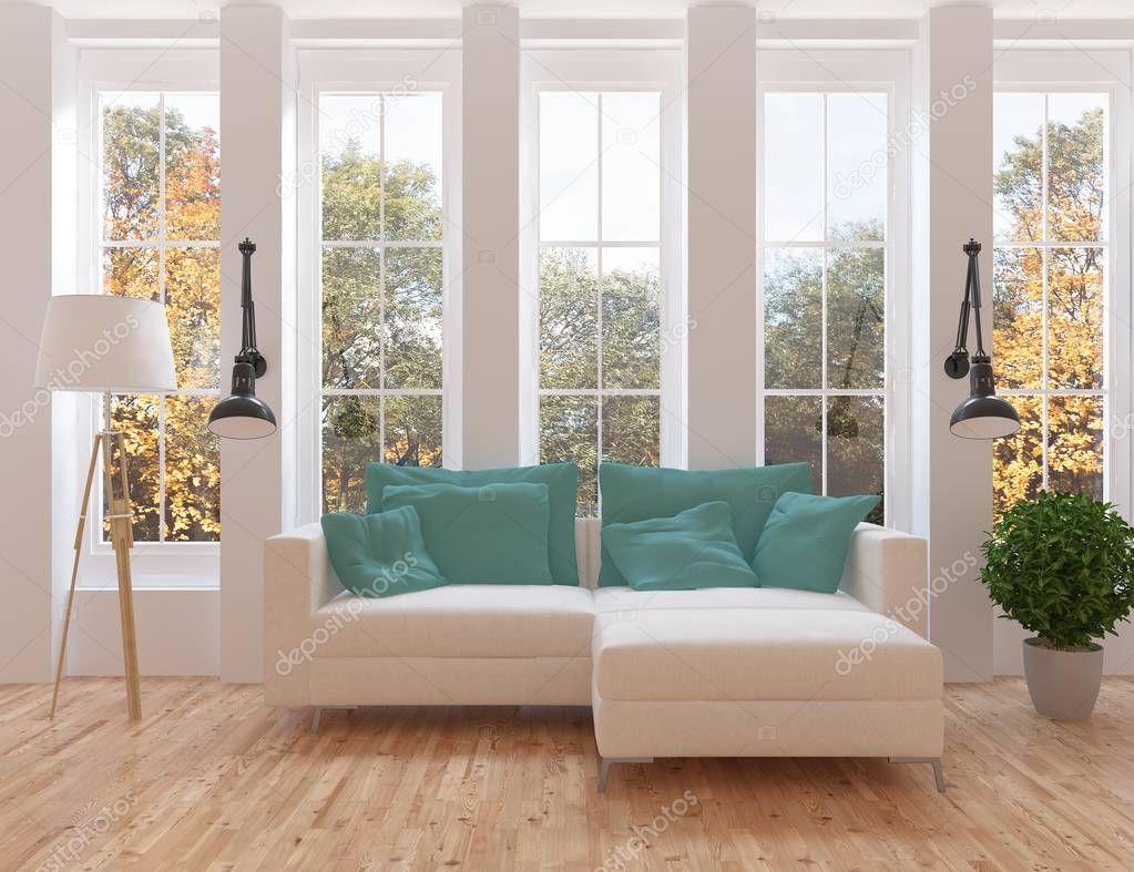 Ipastock idea di interno scandinavo salone con divano for Pavimento in legno interno