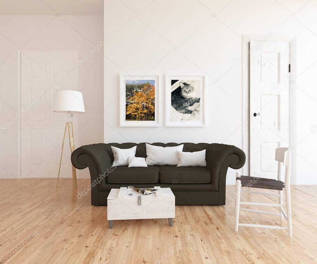 Ipastock idea di un interno scandinavo salone con divano for Pavimento in legno interno