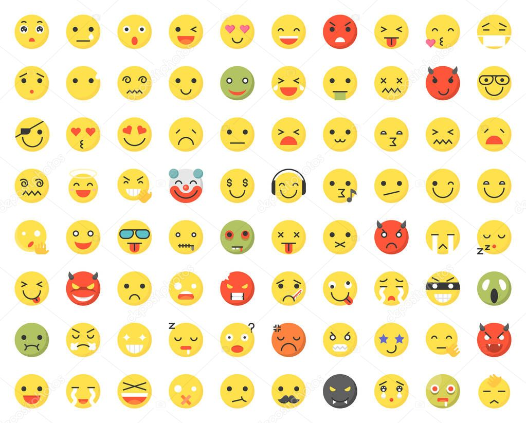 Ipastock raccolta di diversi emoji colorate con emozioni isolate su bianco - Parole con significati diversi ...