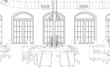 Ipastock disegno di interior design grande stanza di for Design stanza ufficio
